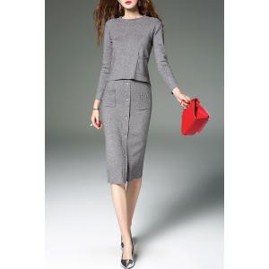 Knitted Sweater and Button Front Midi Skirt - GRAY S