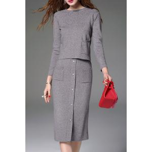Knitted Sweater and Button Front Midi Skirt