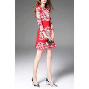 Floral Embroidered Mini Mermaid Dress - RED L