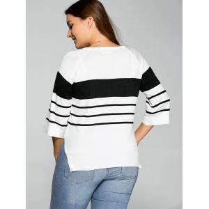 Plus Size Striped Knitwear - WHITE 5XL