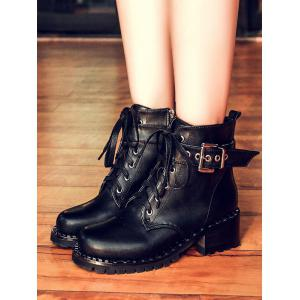 Tie Up Rivets Buckle Strap Ankle Boots - BLACK 38
