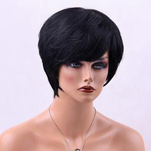 Straight Short Side Bang Human Hair Wig - JET BLACK