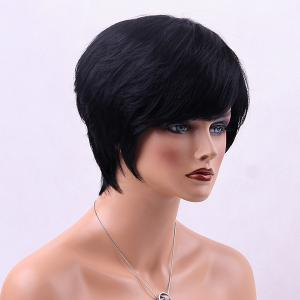 Straight Short Side Bang Human Hair Wig -