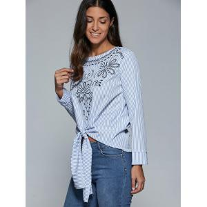 Embroidery Striped Tie Front Blouse -