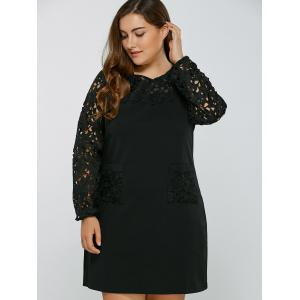 Openwork Lace Spliced Shift Dress -