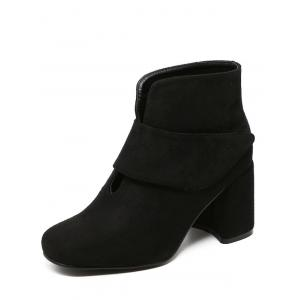 Flock Round Toe Chunky Heel Ankle Boots -