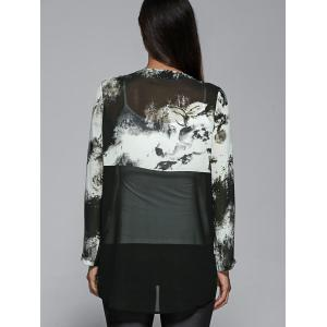 Zipper Up Ink Painting High Low Blouse -