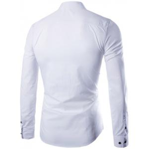 Shirt Collar Long Sleeve Fly Front Shirt - WHITE 3XL