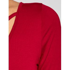 Crossback Bodycon Long Sleeve Bodysuit - WINE RED XL