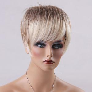 Short Pixie Ombre Oblique Bang Straight Human Hair Wig -