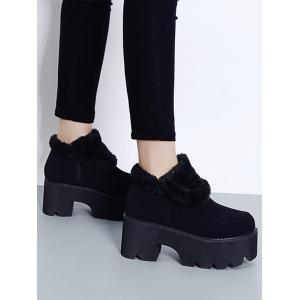Platform Chunky Heel Zipper Ankle Boots - BLACK 38