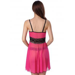 Sequined Spliced Slit Plunge Babydoll With Briefs -