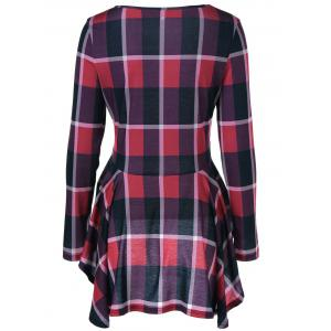 High Low Hem Plaid Peplum Blouse - CHECKED L