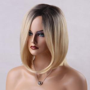 Ombre Side Parting Medium Straight Bob Human Hair Wig -