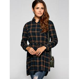 High Low Plaid Shirt Dress -