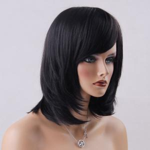 Medium Oblique Bang Straight Human Hair Wig - JET BLACK