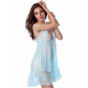 Lace Mesh Sheer Plunge Babydoll - LIGHT BLUE S