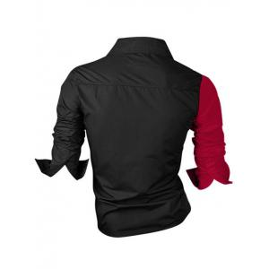 Color Block Splicing Design Turn-Down Collar Long Sleeve Shirt For Men - RED WITH BLACK 4XL