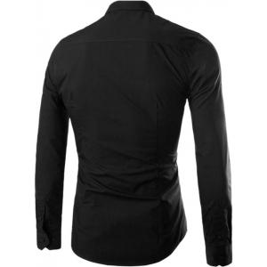 Single Breasted Shirt Collar Long Sleeve Shirt - BLACK XL