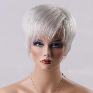 Short Oblique Bang Straight Real Natural Hair Wig - WHITE GREY