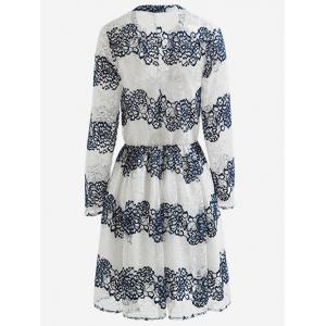 Floral Jacquard Openwork Lace Swing Dress -