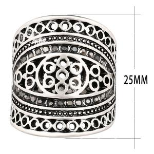 Rhinestone Hollow Out Geometry Ring -