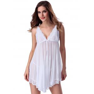 Lace Trim Sheer Deep V Neck Babydoll With Cape - WHITE 2XL