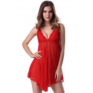 Lace Trim Sheer Deep V Neck Babydoll With Cape - RED M