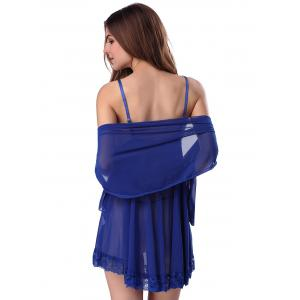 Lace Trim Sheer Deep V Neck Babydoll With Cape - BLUE 2XL