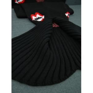 Mouth Pattern Knitted Mermaid Tail Blanket - BLACK W31.50INCH*L70.70INCH