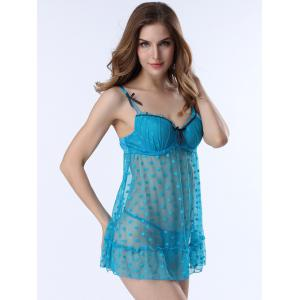Полька Dot сетки Sheer Push Up Babydoll - Лазурный XL