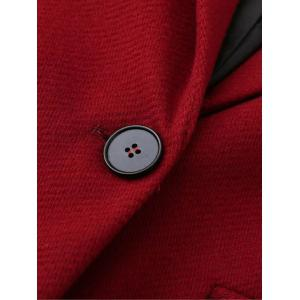 Casual Buttoned Woolen Coat - RED L