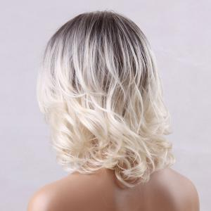 Medium Ombre Side Parting Straight Human Hair Wig -