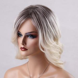 Medium Ombre Side Parting Straight Human Hair Wig - COLORMIX