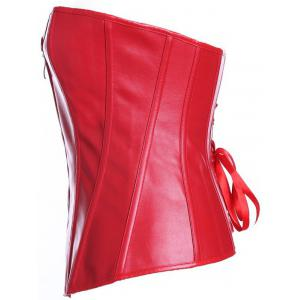Zippered Faux Leather Lace-Up Corset - RED 4XL