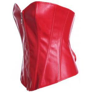 Zippered Faux Leather Lace-Up Corset -