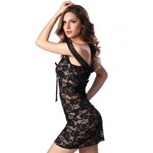 Cutout Off  The Shoulder Lace Sheer Babydoll -