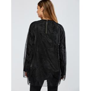 Streetwear Organza Double-Deck Sweatshirt - BLACK ONE SIZE