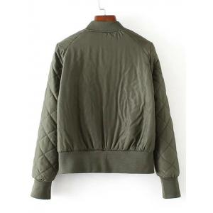 Zip-Up Fitting Quilted Winter Bomber Jacket - ARMY GREEN L