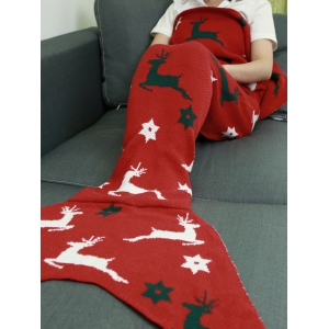 Comfortable Christmas Deer Wrap Mermaid Knitted Blankets and Throws -