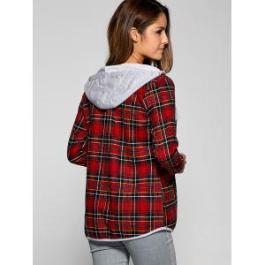 Plaid Drawstring Hooded Flannel Shirt -