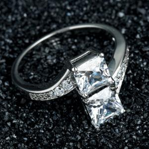 Geometric Artificial Diamond Engagement Ring -