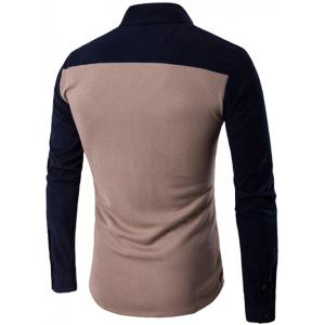 Color Block Spliced Long Sleeve Pocket Shirt -