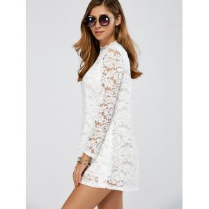 Ruffles Neck Floral Lace Tunic Dress -