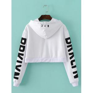 Letter Cropped String Hoodie -