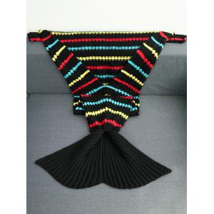 Acrylic Knitted Colorful Geometric Pattern Mermaid Tail Blanket - COLORMIX