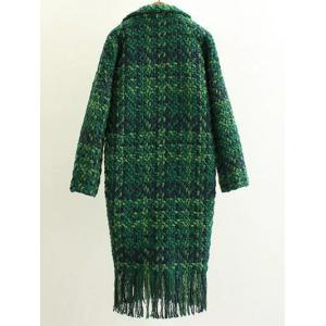 Houndstooth Fringed Woolen Coat -