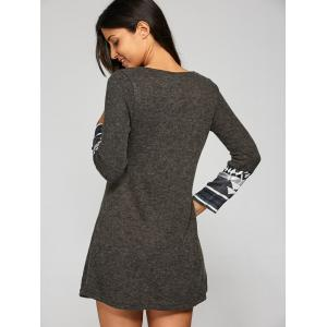 Flocking Geometrical Pattern Spliced Dress - DEEP GRAY S