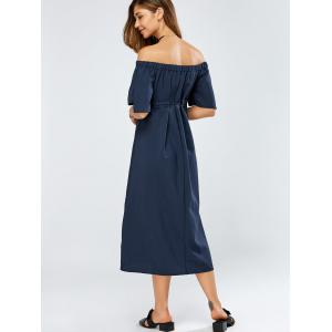 Off The Shoulder Lace-Up Empire Waist Dress - CADETBLUE ONE SIZE