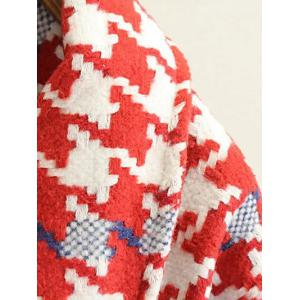 Woolen Houndstooth Cocoon Coat - RED L